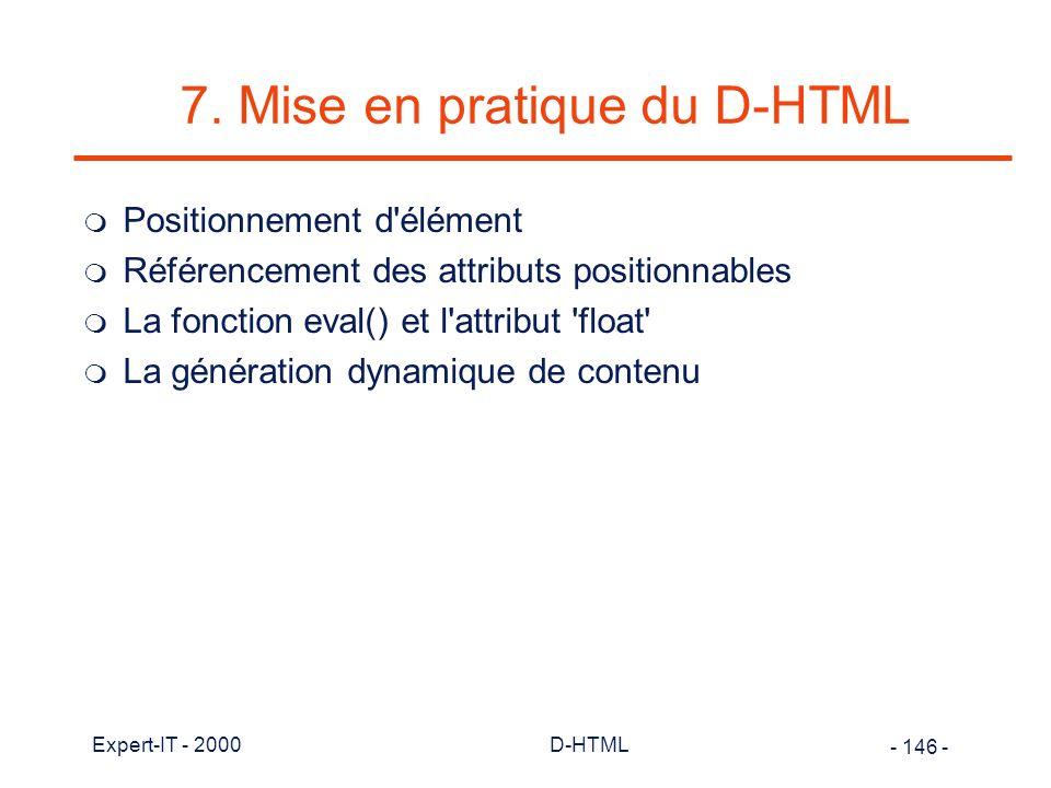 7. Mise en pratique du D-HTML