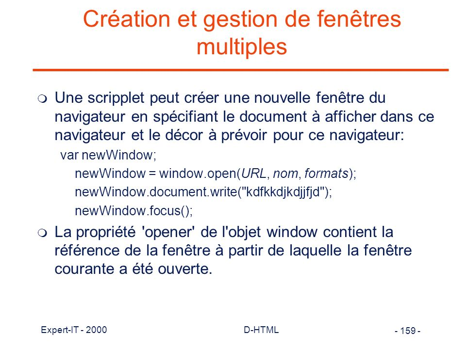 Création et gestion de fenêtres multiples