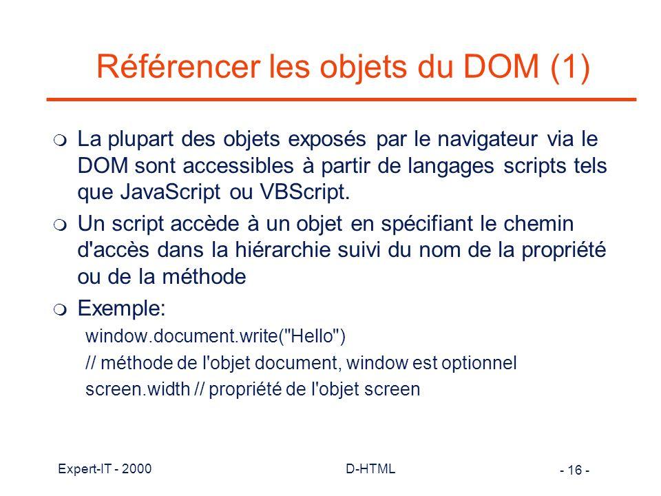 Référencer les objets du DOM (1)