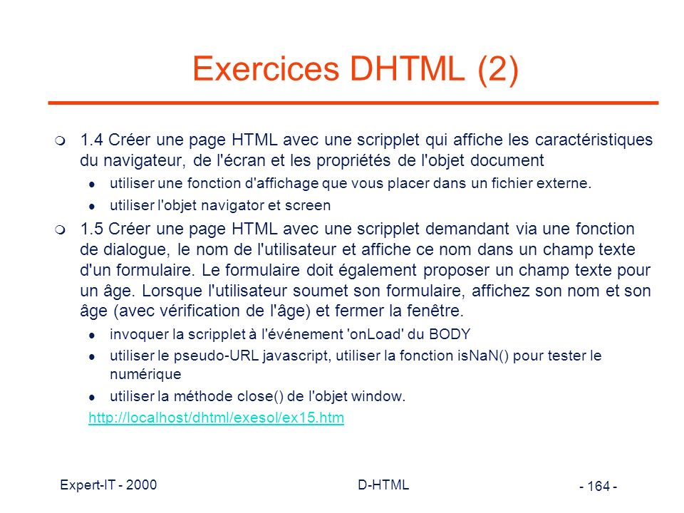 Exercices DHTML (2)