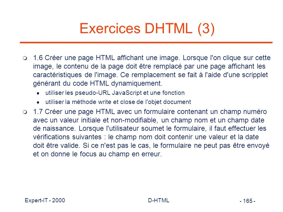 Exercices DHTML (3)