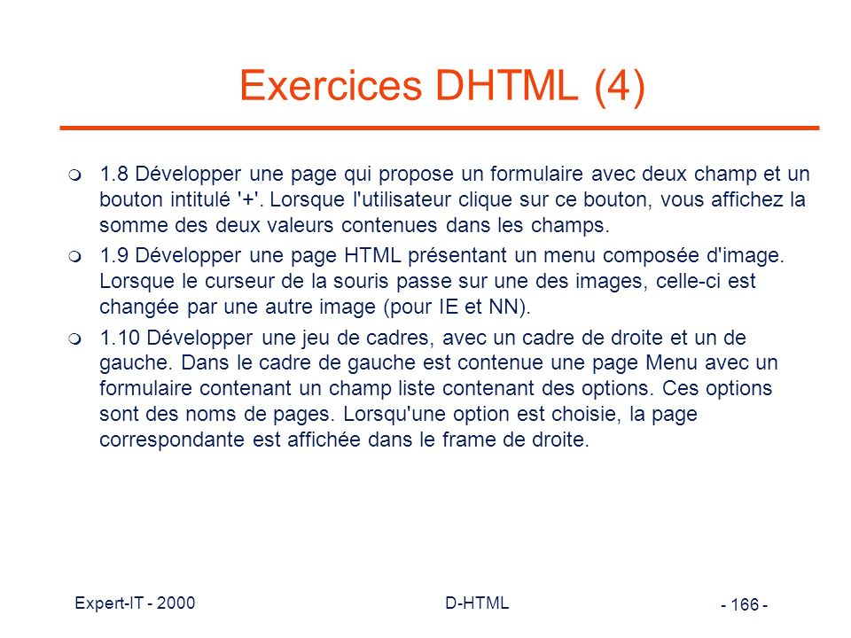 Exercices DHTML (4)