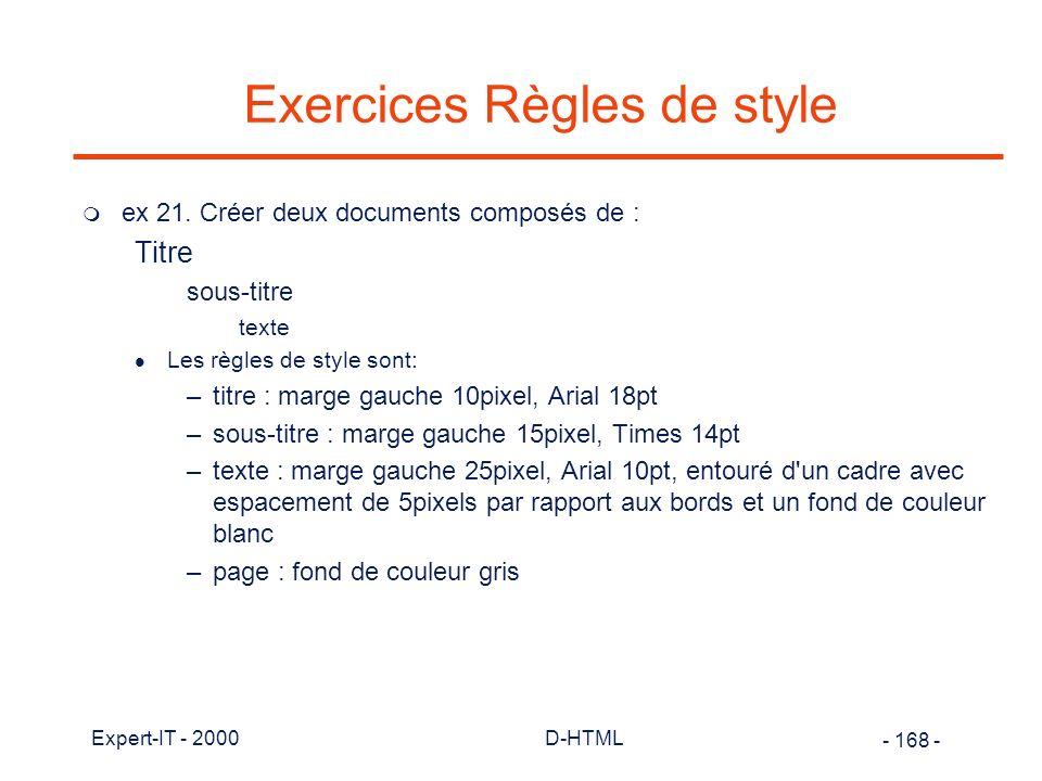 Exercices Règles de style