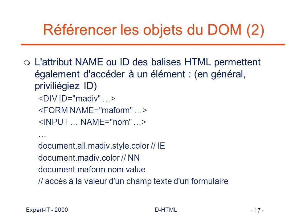 Référencer les objets du DOM (2)