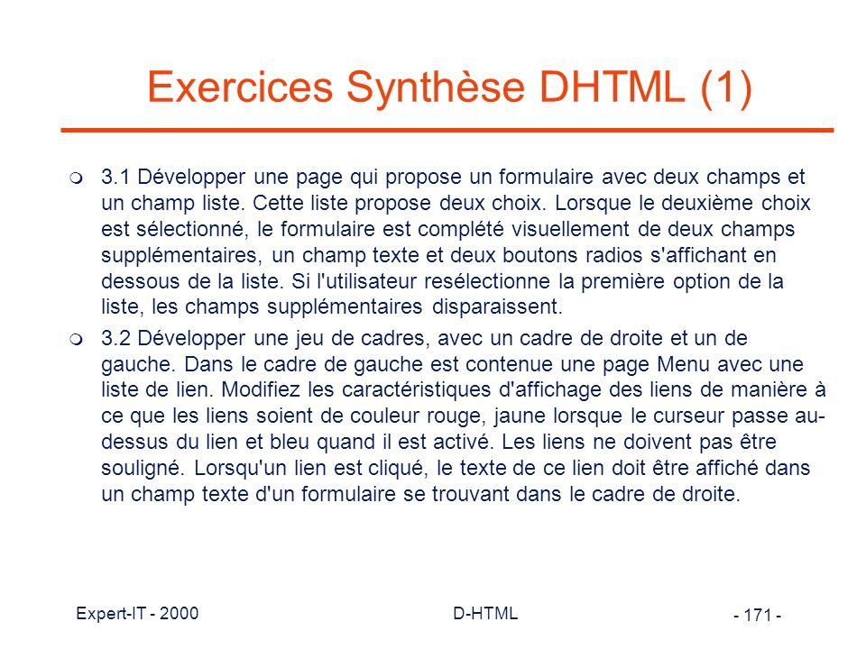 Exercices Synthèse DHTML (1)