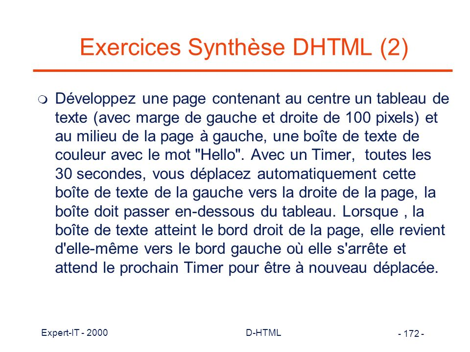Exercices Synthèse DHTML (2)
