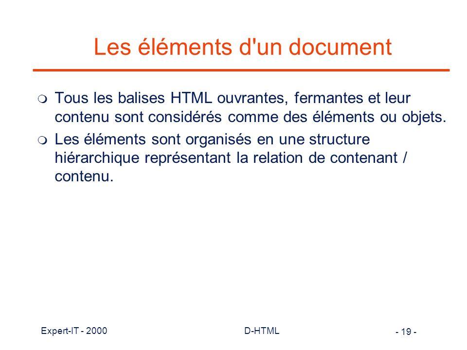Les éléments d un document