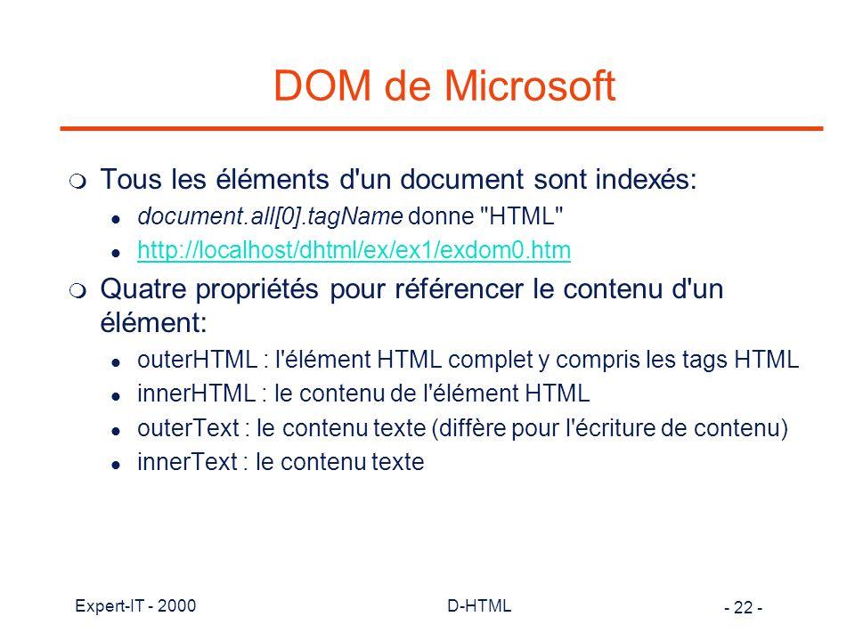 DOM de Microsoft Tous les éléments d un document sont indexés: