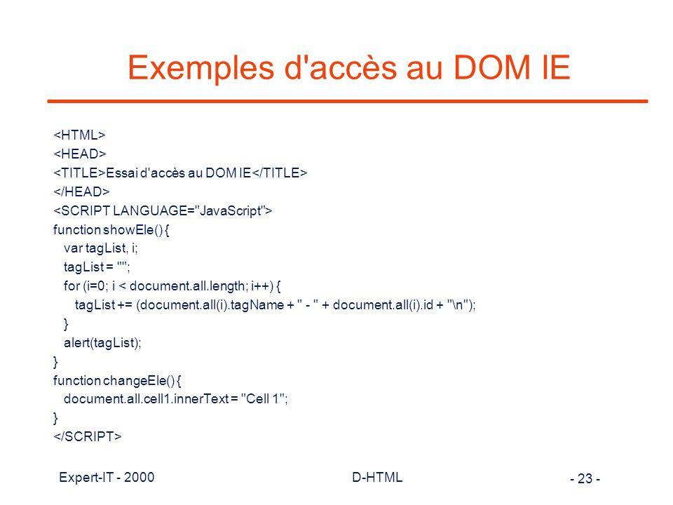 Exemples d accès au DOM IE