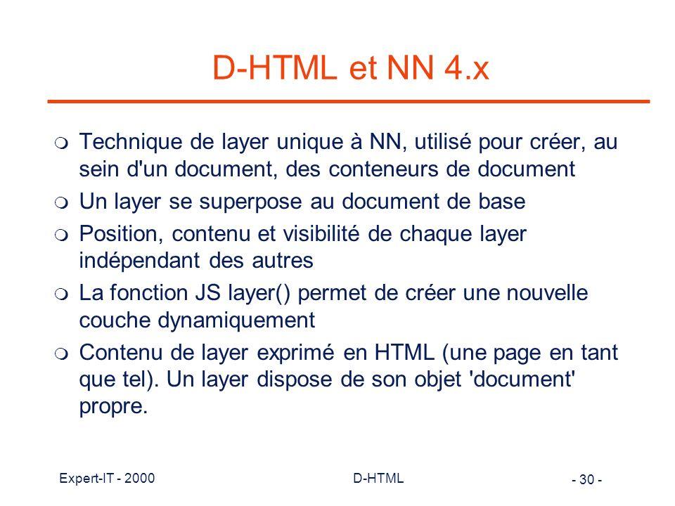 D-HTML et NN 4.x Technique de layer unique à NN, utilisé pour créer, au sein d un document, des conteneurs de document.