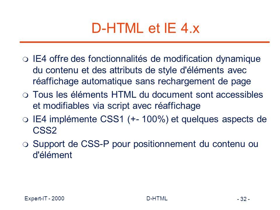 D-HTML et IE 4.x