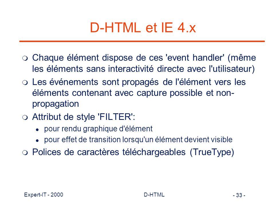 D-HTML et IE 4.x Chaque élément dispose de ces event handler (même les éléments sans interactivité directe avec l utilisateur)