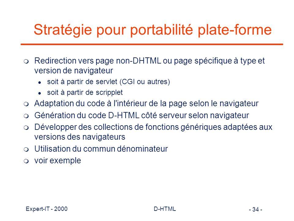 Stratégie pour portabilité plate-forme