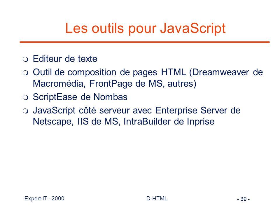 Les outils pour JavaScript