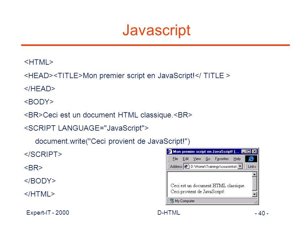 Javascript <HTML>