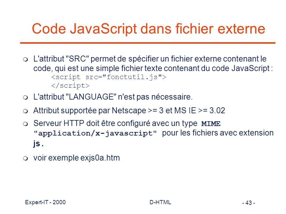 Code JavaScript dans fichier externe