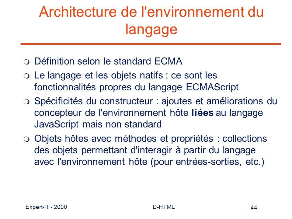 Architecture de l environnement du langage