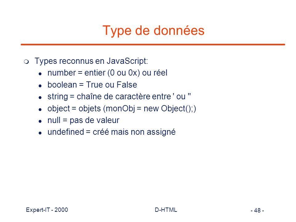 Type de données Types reconnus en JavaScript:
