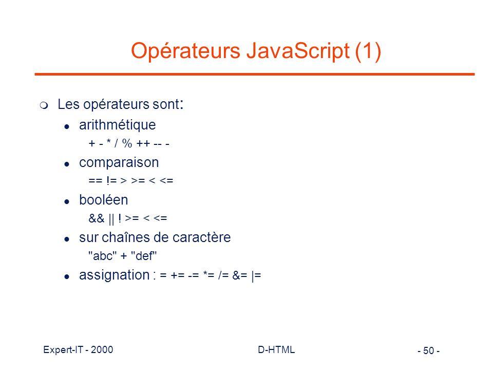 Opérateurs JavaScript (1)
