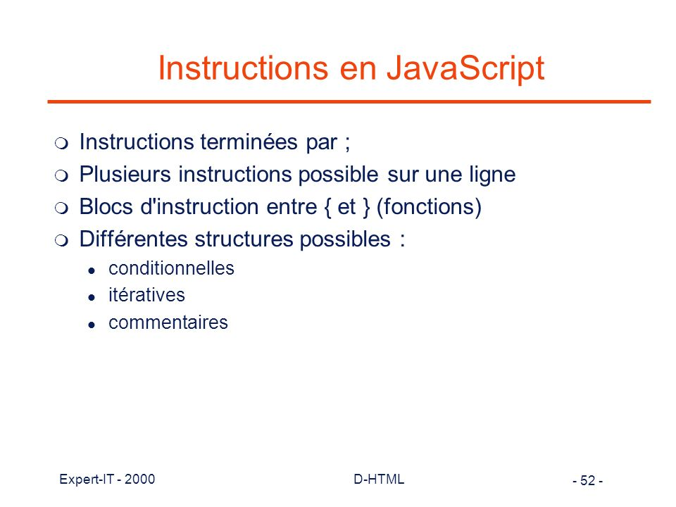Instructions en JavaScript