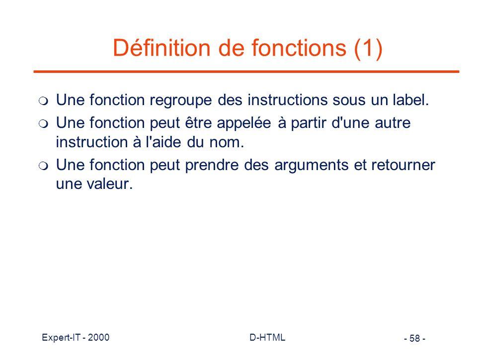 Définition de fonctions (1)