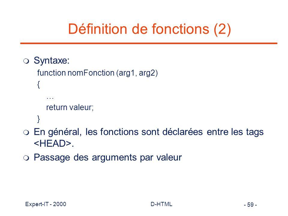 Définition de fonctions (2)