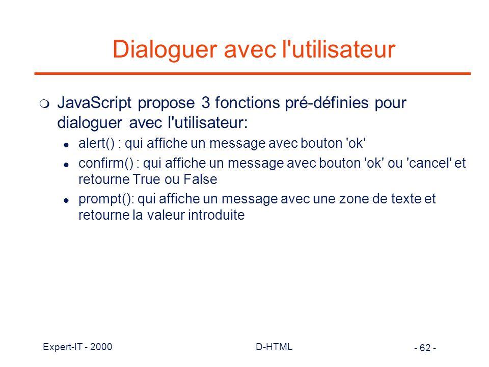 Dialoguer avec l utilisateur
