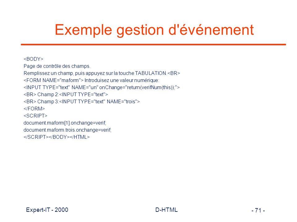 Exemple gestion d événement