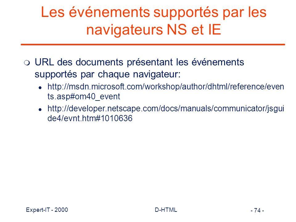 Les événements supportés par les navigateurs NS et IE