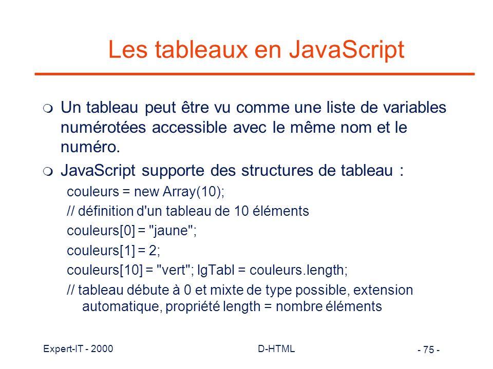 Les tableaux en JavaScript