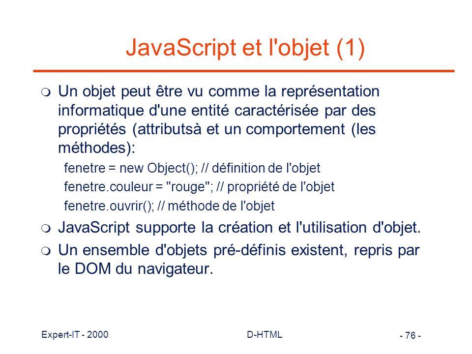 JavaScript et l objet (1)