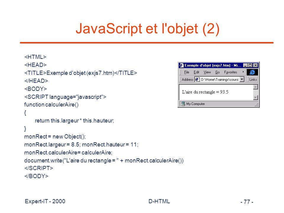 JavaScript et l objet (2)