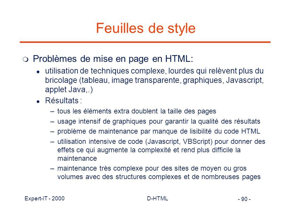 Feuilles de style Problèmes de mise en page en HTML: