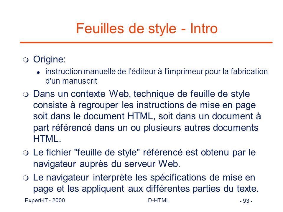 Feuilles de style - Intro