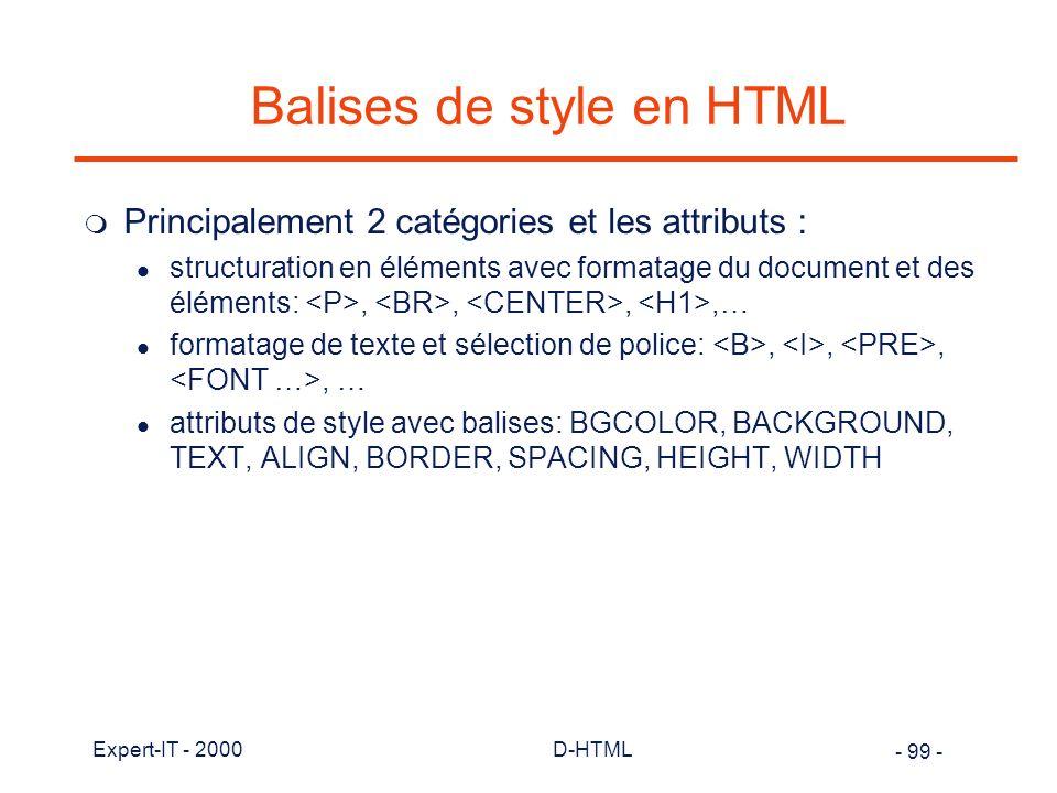 Balises de style en HTML