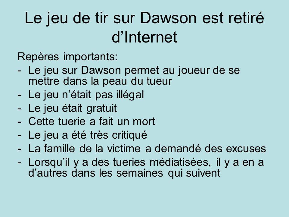 Le jeu de tir sur Dawson est retiré d'Internet