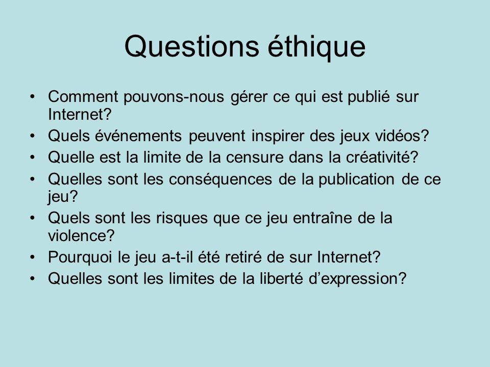 Questions éthique Comment pouvons-nous gérer ce qui est publié sur Internet Quels événements peuvent inspirer des jeux vidéos