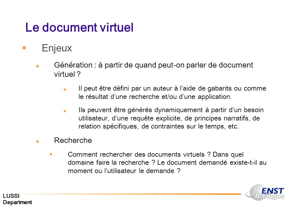 Le document virtuel Enjeux
