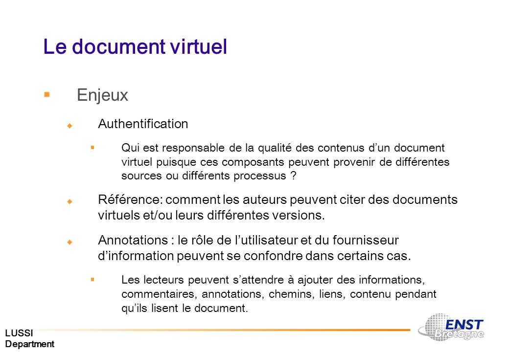 Le document virtuel Enjeux Authentification
