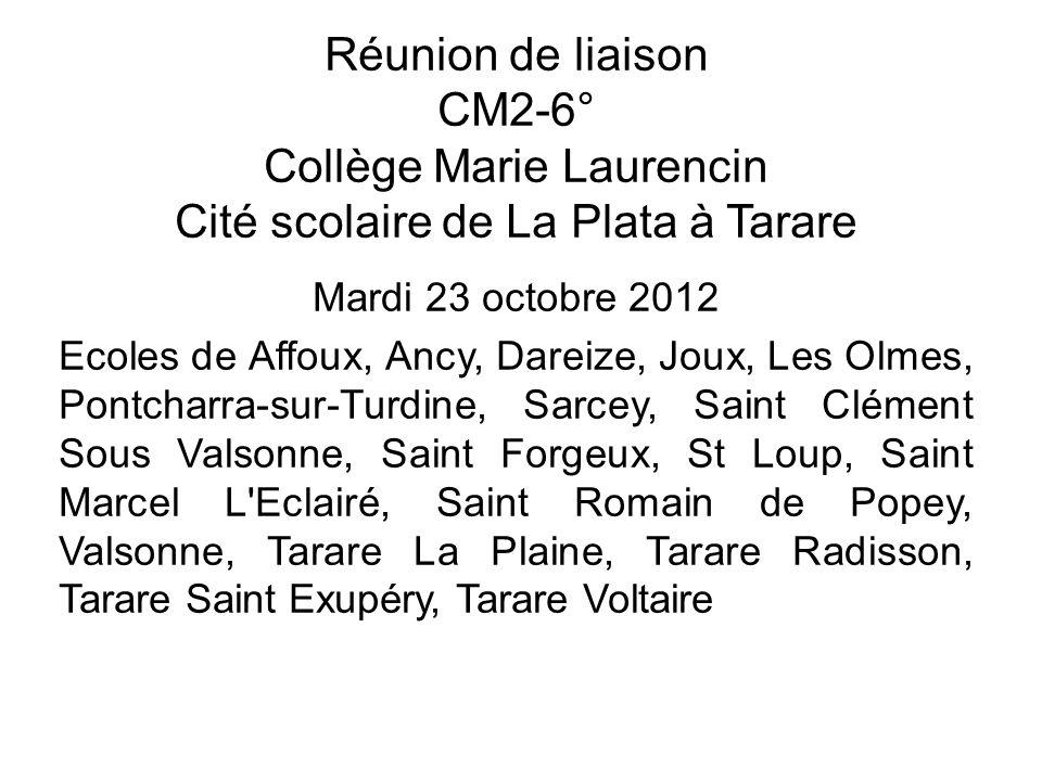 Réunion de liaison CM2-6° Collège Marie Laurencin Cité scolaire de La Plata à Tarare