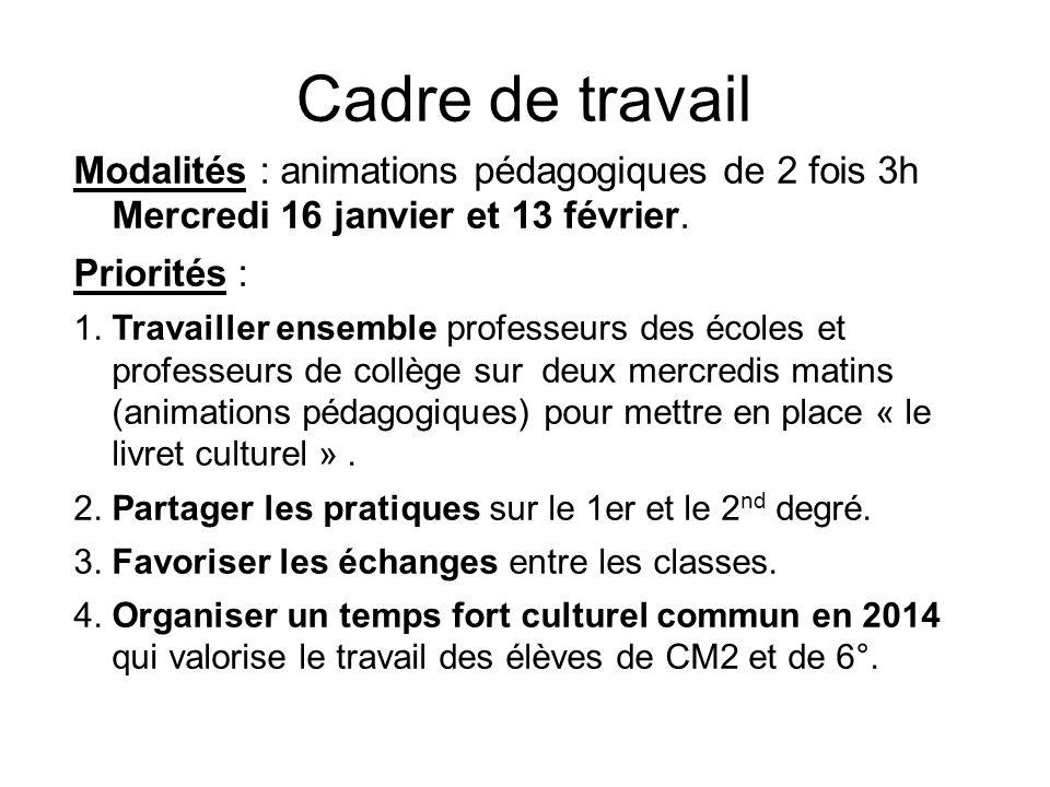 Cadre de travail Modalités : animations pédagogiques de 2 fois 3h Mercredi 16 janvier et 13 février.