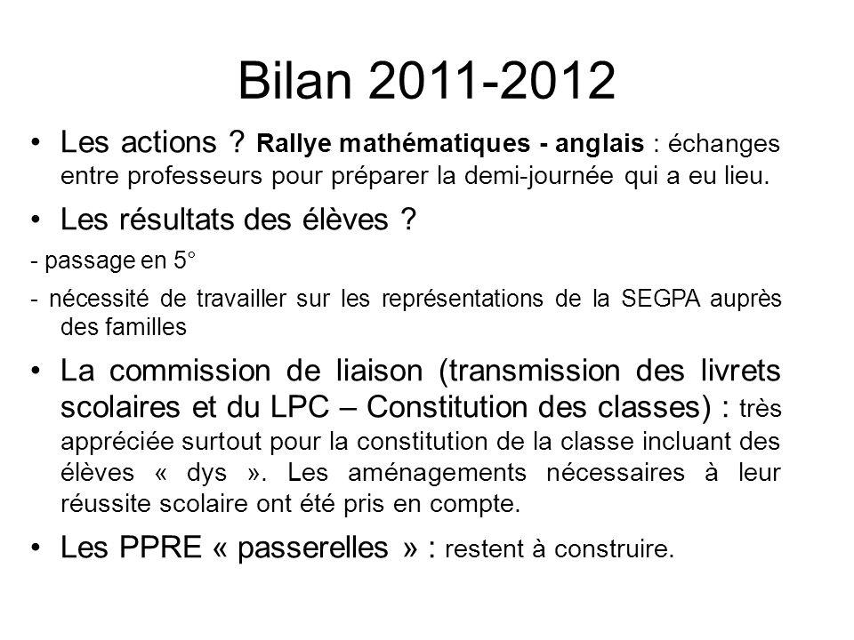 Bilan 2011-2012 Les actions Rallye mathématiques - anglais : échanges entre professeurs pour préparer la demi-journée qui a eu lieu.