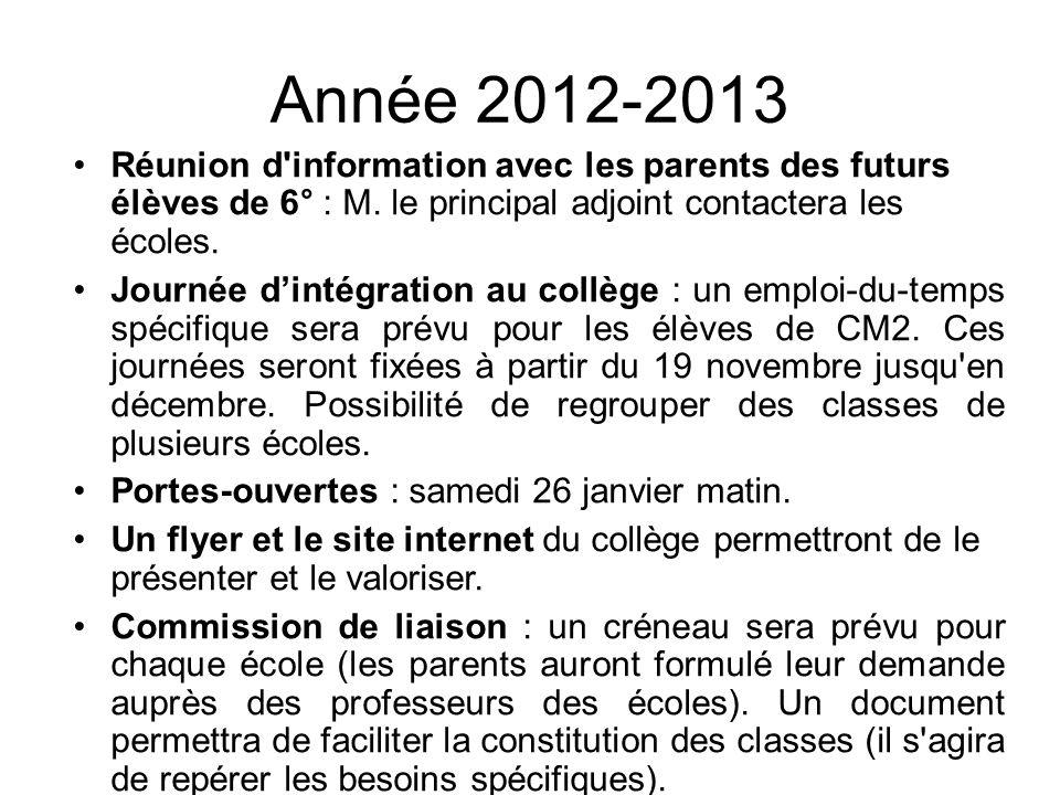 Année 2012-2013 Réunion d information avec les parents des futurs élèves de 6° : M. le principal adjoint contactera les écoles.