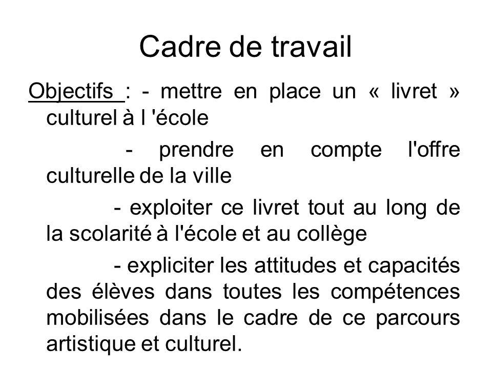 Cadre de travail Objectifs : - mettre en place un « livret » culturel à l école. - prendre en compte l offre culturelle de la ville.