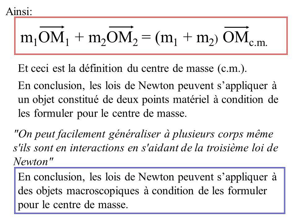m1OM1 + m2OM2 = (m1 + m2) OMc.m. Ainsi: