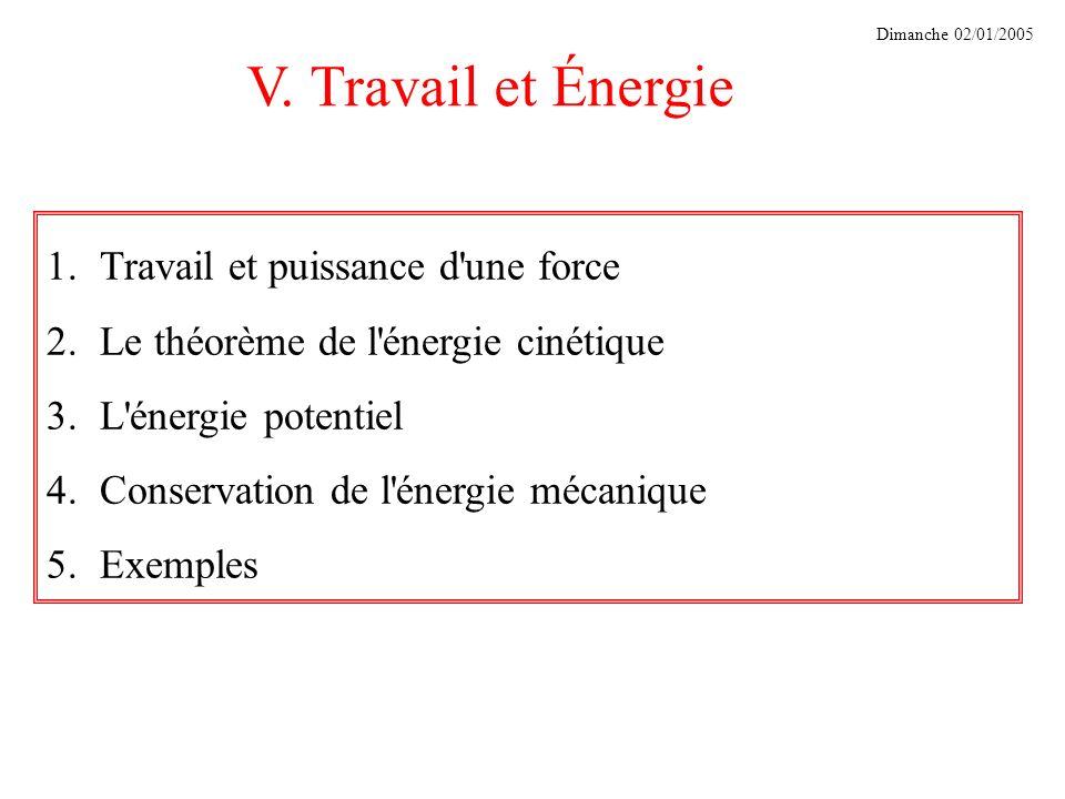 V. Travail et Énergie Travail et puissance d une force