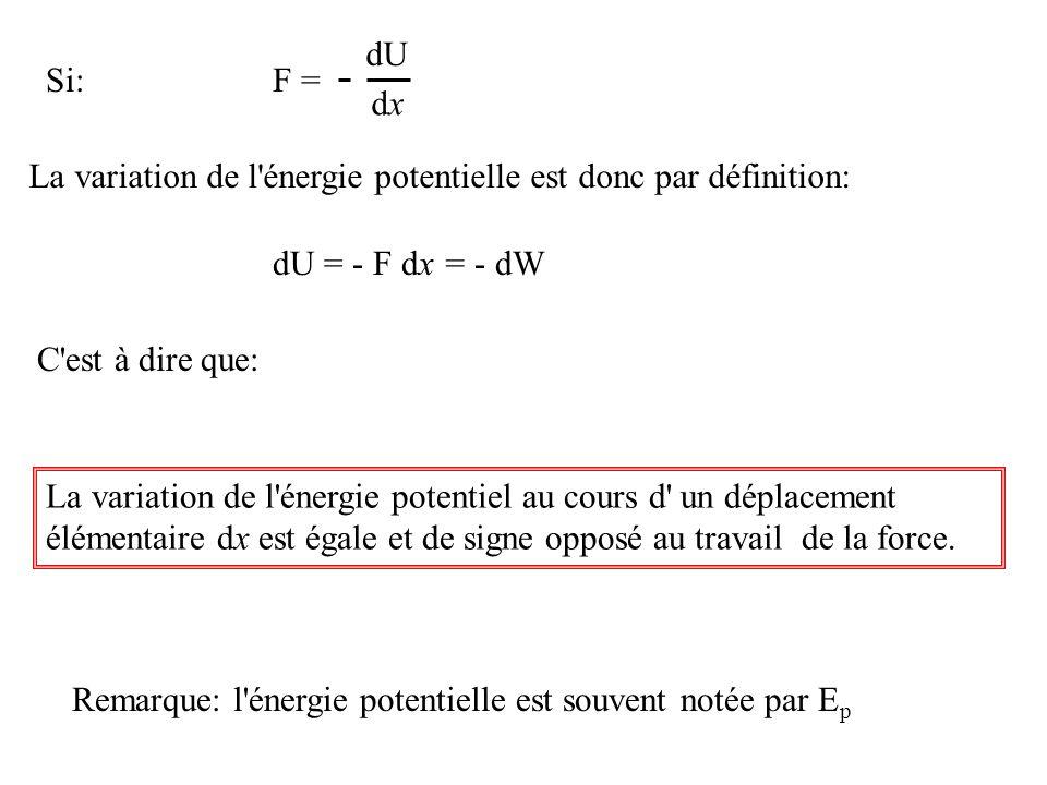 F = dU. dx. Si: La variation de l énergie potentielle est donc par définition: dU = - F dx = - dW.