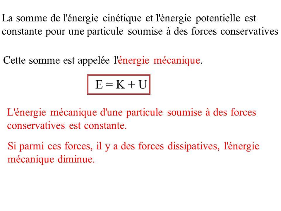 E = K + U La somme de l énergie cinétique et l énergie potentielle est