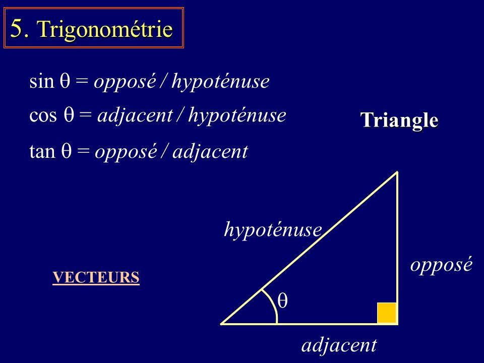 5. Trigonométrie sin q = opposé / hypoténuse