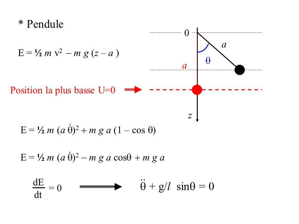 * Pendule .. q + g/l sinq = 0 a E = ½ m v2 - m g (z – a ) q a